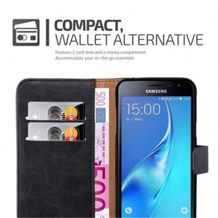 Cadorabo Hülle für Samsung Galaxy J3 2016 in GRAPHIT SCHWARZ - Handyhülle mit Magnetverschluss, Standfunktion und Kartenfach - Case Cover Schutzhülle Etui Tasche Book Klapp Style - Vorschau 4