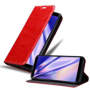 Cadorabo Hülle für WIKO VIEW MAX in APFEL ROT Handyhülle mit Magnetverschluss, Standfunktion und Kartenfach Case Cover Schutzhülle Etui Tasche Book Klapp Style