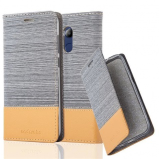 Cadorabo Hülle für Honor 6C PRO in HELL GRAU BRAUN - Handyhülle mit Magnetverschluss, Standfunktion und Kartenfach - Case Cover Schutzhülle Etui Tasche Book Klapp Style