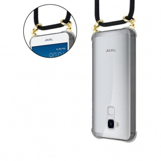 Cadorabo Handy Kette für Honor 5C in SCHWARZ - Silikon Necklace Umhänge Hülle mit Gold Ringen, Kordel Band Schnur und abnehmbarem Etui ? Schutzhülle - Vorschau 5