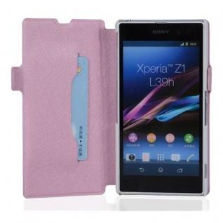 Cadorabo Hülle für Sony Xperia Z1 - Hülle in ICY ROSE - Handyhülle mit Standfunktion und Kartenfach im Ultra Slim Design - Case Cover Schutzhülle Etui Tasche Book