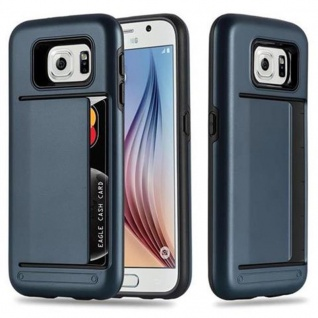 Cadorabo Hülle für Samsung Galaxy S6 - Hülle in ARMOR DUNKEL BLAU - Handyhülle mit Kartenfach - Hard Case TPU Silikon Schutzhülle für Hybrid Cover im Outdoor Heavy Duty Design