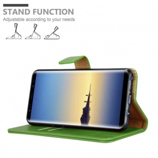 Cadorabo Hülle für Samsung Galaxy NOTE 8 in GRAS GRÜN ? Handyhülle mit Magnetverschluss, Standfunktion und Kartenfach ? Case Cover Schutzhülle Etui Tasche Book Klapp Style - Vorschau 4