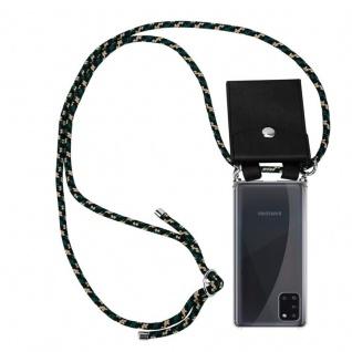 Cadorabo Handy Kette für Samsung Galaxy A31 in CAMOUFLAGE Silikon Necklace Umhänge Hülle mit Silber Ringen, Kordel Band Schnur und abnehmbarem Etui Schutzhülle