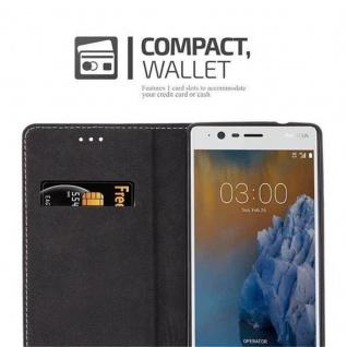 Cadorabo Hülle für Nokia 3 2017 in ROT SCHWARZ ? Handyhülle mit Magnetverschluss, Standfunktion und Kartenfach ? Case Cover Schutzhülle Etui Tasche Book Klapp Style - Vorschau 5