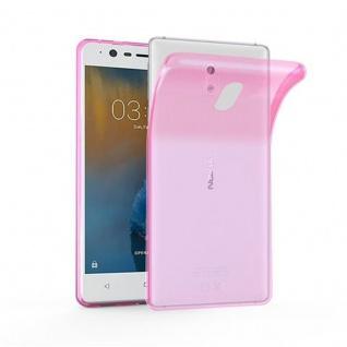 Cadorabo Hülle für Nokia 3 2017 - Hülle in TRANSPARENT PINK ? Handyhülle aus TPU Silikon im Ultra Slim 'AIR' Design - Ultra Slim Soft Backcover Case Bumper