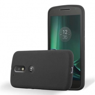 Cadorabo Hülle für Motorola MOTO G4 / MOTO G4 PLUS in FROST SCHWARZ - Handyhülle aus flexiblem TPU Silikon - Silikonhülle Schutzhülle Ultra Slim Soft Back Cover Case Bumper