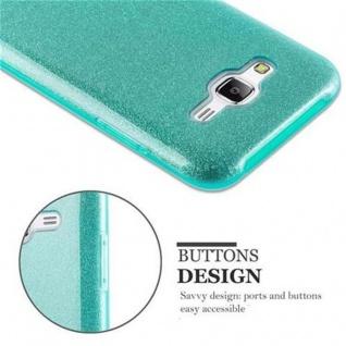Cadorabo Hülle für Samsung Galaxy J5 2015 - Hülle in STERNENSTAUB TÜRKIS ? TPU Silikon und Hardcase Handyhülle im Glitzer Design - Hard Case TPU Silikon Schutzhülle - Vorschau 4