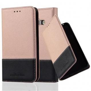 Cadorabo Hülle für Samsung Galaxy J1 2015 in ROSÉ GOLD SCHWARZ - Handyhülle mit Magnetverschluss, Standfunktion und Kartenfach - Case Cover Schutzhülle Etui Tasche Book Klapp Style