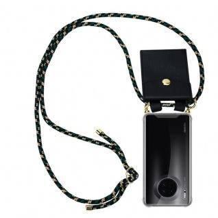 Cadorabo Handy Kette für Huawei MATE 30 in CAMOUFLAGE Silikon Necklace Umhänge Hülle mit Gold Ringen, Kordel Band Schnur und abnehmbarem Etui Schutzhülle