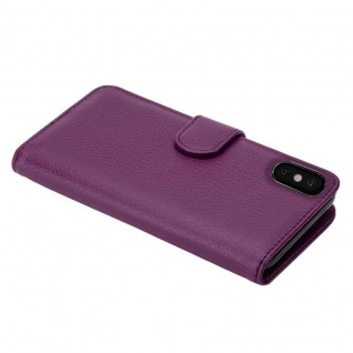 Cadorabo Hülle für Apple iPhone X / XS in BORDEAUX LILA ? Handyhülle mit Magnetverschluss und 3 Kartenfächern ? Case Cover Schutzhülle Etui Tasche Book Klapp Style - Vorschau 5