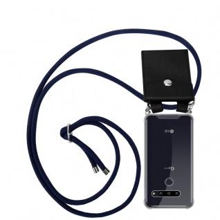 Cadorabo Handy Kette für LG G8 ThinQ in TIEF BLAU Silikon Necklace Umhänge Hülle mit Silber Ringen, Kordel Band Schnur und abnehmbarem Etui Schutzhülle