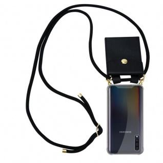 Cadorabo Handy Kette für Samsung Galaxy A50 in SCHWARZ - Silikon Necklace Umhänge Hülle mit Gold Ringen, Kordel Band Schnur und abnehmbarem Etui ? Schutzhülle