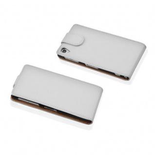 Cadorabo Hülle für Sony Xperia Z1 COMPACT in MAGNESIUM WEIß - Handyhülle im Flip Design aus strukturiertem Kunstleder - Case Cover Schutzhülle Etui Tasche Book Klapp Style - Vorschau 2