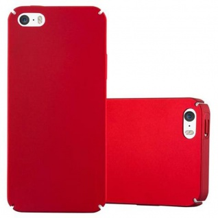 Cadorabo Hülle für Apple iPhone 5 / iPhone 5S / iPhone SE in METALL ROT - Hardcase Handyhülle aus Plastik gegen Kratzer und Stöße - Schutzhülle Bumper Ultra Slim Back Case Hard Cover