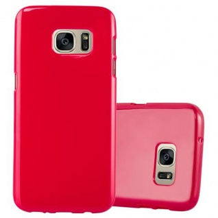 Cadorabo Hülle für Samsung Galaxy S7 in JELLY ROT ? Handyhülle aus flexiblem TPU Silikon ? Silikonhülle Schutzhülle Ultra Slim Soft Back Cover Case Bumper