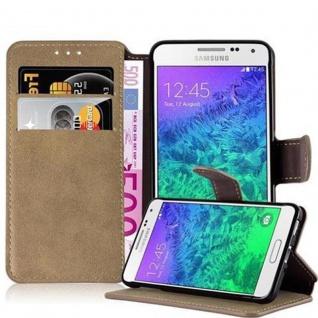 Cadorabo Hülle für Samsung Galaxy ALPHA - Hülle in MATT SAND BRAUN - Handyhülle mit Standfunktion und Kartenfach im Retro Design - Case Cover Schutzhülle Etui Tasche Book Klapp Style