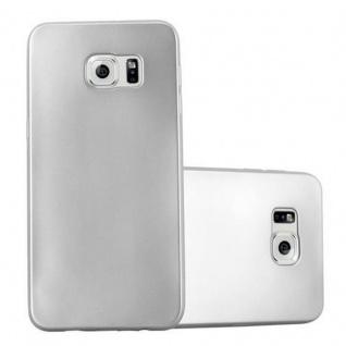 Cadorabo Hülle für Samsung Galaxy S6 EDGE PLUS in METALLIC SILBER - Handyhülle aus flexiblem TPU Silikon - Silikonhülle Schutzhülle Ultra Slim Soft Back Cover Case Bumper