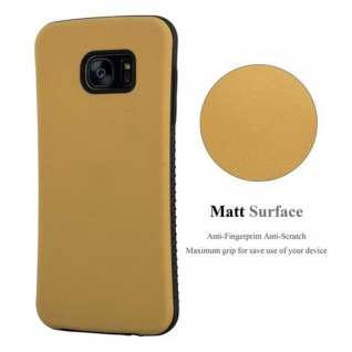 Cadorabo Hülle für Samsung Galaxy S7 EDGE - Hülle in GOLD BRAUN - Small Waist Handyhülle mit rutschfestem Gummi-Rücken - Hard Case TPU Silikon Schutzhülle - Vorschau 3