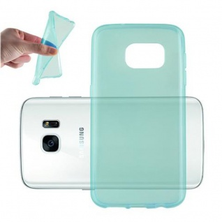 Cadorabo Hülle für Samsung Galaxy S7 in TRANSPARENT BLAU - Handyhülle aus flexiblem TPU Silikon - Silikonhülle Schutzhülle Ultra Slim Soft Back Cover Case Bumper