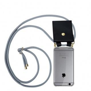 Cadorabo Handy Kette für Apple iPhone 6 PLUS / iPhone 6S PLUS in SILBER GRAU Silikon Necklace Umhänge Hülle mit Gold Ringen, Kordel Band Schnur und abnehmbarem Etui Schutzhülle