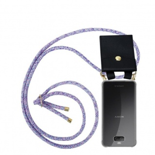 Cadorabo Handy Kette für Sony Xperia 10 PLUS in UNICORN - Silikon Necklace Umhänge Hülle mit Gold Ringen, Kordel Band Schnur und abnehmbarem Etui ? Schutzhülle