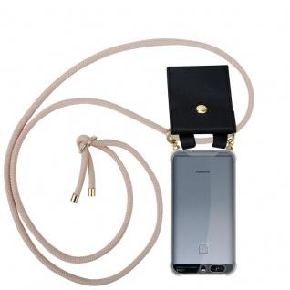 Cadorabo Handy Kette für Huawei P9 in PERLIG ROSÉGOLD - Silikon Necklace Umhänge Hülle mit Gold Ringen, Kordel Band Schnur und abnehmbarem Etui ? Schutzhülle