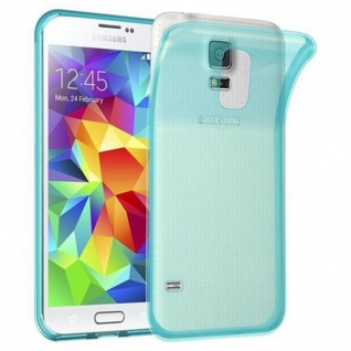 Cadorabo Hülle für Samsung Galaxy S5 / S5 NEO in TRANSPARENT BLAU - Handyhülle aus flexiblem TPU Silikon - Silikonhülle Schutzhülle Ultra Slim Soft Back Cover Case Bumper