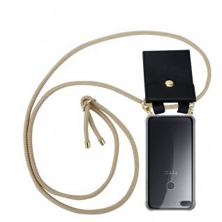 Cadorabo Handy Kette für HTC Desire 12 PLUS in GLÄNZEND BRAUN - Silikon Necklace Umhänge Hülle mit Gold Ringen, Kordel Band Schnur und abnehmbarem Etui ? Schutzhülle