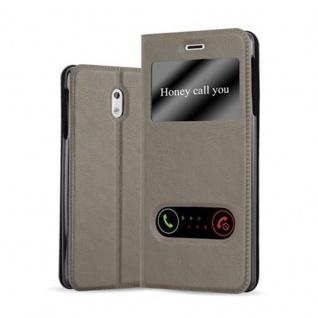 Cadorabo Hülle für Nokia 3 2017 in STEIN BRAUN - Handyhülle mit Magnetverschluss, Standfunktion und 2 Sichtfenstern - Case Cover Schutzhülle Etui Tasche Book Klapp Style