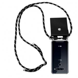 Cadorabo Handy Kette für LG V40 in SCHWARZ SILBER Silikon Necklace Umhänge Hülle mit Silber Ringen, Kordel Band Schnur und abnehmbarem Etui Schutzhülle