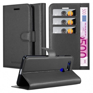 Cadorabo Hülle für Honor View 20 in PHANTOM SCHWARZ - Handyhülle mit Magnetverschluss, Standfunktion und Kartenfach - Case Cover Schutzhülle Etui Tasche Book Klapp Style
