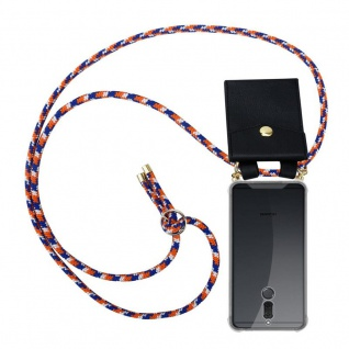 Cadorabo Handy Kette für Huawei MATE 10 / NOVA 2i in ORANGE BLAU WEISS - Silikon Necklace Umhänge Hülle mit Gold Ringen, Kordel Band Schnur und abnehmbarem Etui ? Schutzhülle