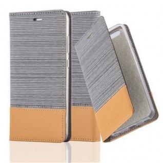 Cadorabo Hülle für Huawei P10 LITE in HELL GRAU BRAUN - Handyhülle mit Magnetverschluss, Standfunktion und Kartenfach - Case Cover Schutzhülle Etui Tasche Book Klapp Style