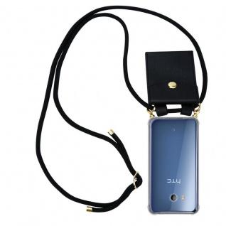 Cadorabo Handy Kette für HTC Ocean / U11 in SCHWARZ - Silikon Necklace Umhänge Hülle mit Gold Ringen, Kordel Band Schnur und abnehmbarem Etui ? Schutzhülle