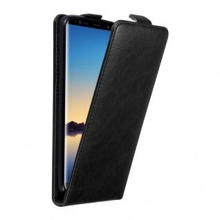Cadorabo Hülle für Samsung Galaxy NOTE 8 in NACHT SCHWARZ - Handyhülle im Flip Design mit unsichtbarem Magnetverschluss - Case Cover Schutzhülle Etui Tasche Book Klapp Style