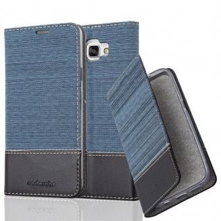 Cadorabo Hülle für Samsung Galaxy A7 2016 in DUNKEL BLAU SCHWARZ - Handyhülle mit Magnetverschluss, Standfunktion und Kartenfach - Case Cover Schutzhülle Etui Tasche Book Klapp Style