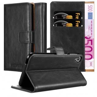 Cadorabo Hülle für HTC Desire 820 in GRAPHIT SCHWARZ ? Handyhülle mit Magnetverschluss, Standfunktion und Kartenfach ? Case Cover Schutzhülle Etui Tasche Book Klapp Style