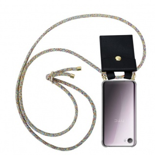 Cadorabo Handy Kette für HTC Desire 12 in RAINBOW - Silikon Necklace Umhänge Hülle mit Gold Ringen, Kordel Band Schnur und abnehmbarem Etui ? Schutzhülle