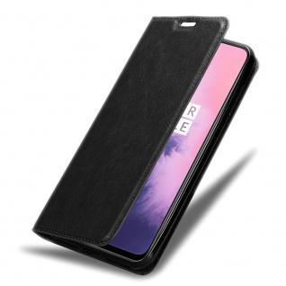 Cadorabo Hülle für OnePlus 7 in NACHT SCHWARZ Handyhülle mit Magnetverschluss, Standfunktion und Kartenfach Case Cover Schutzhülle Etui Tasche Book Klapp Style