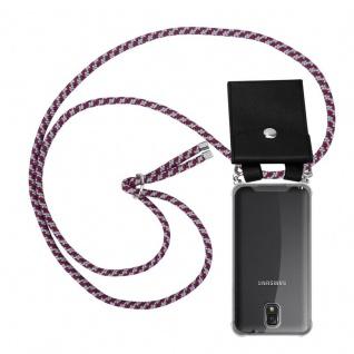 Cadorabo Handy Kette für Samsung Galaxy NOTE 3 in ROT WEISS - Silikon Necklace Umhänge Hülle mit Silber Ringen, Kordel Band Schnur und abnehmbarem Etui - Schutzhülle