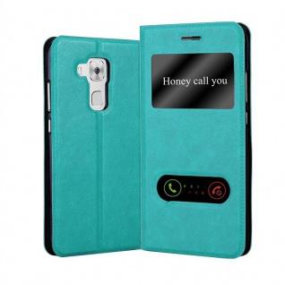 Cadorabo Hülle für Huawei NOVA PLUS in MINT TÜRKIS - Handyhülle mit Magnetverschluss, Standfunktion und 2 Sichtfenstern - Case Cover Schutzhülle Etui Tasche Book Klapp Style