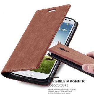 Cadorabo Hülle für Samsung Galaxy S4 in CAPPUCCINO BRAUN - Handyhülle mit Magnetverschluss, Standfunktion und Kartenfach - Case Cover Schutzhülle Etui Tasche Book Klapp Style