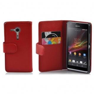Cadorabo Hülle für Sony Xperia SP in INFERNO ROT - Handyhülle aus strukturiertem Kunstleder mit Standfunktion und Kartenfach - Case Cover Schutzhülle Etui Tasche Book Klapp Style