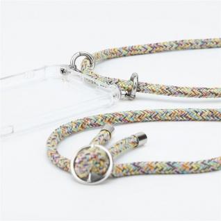 Cadorabo Handy Kette für OnePlus 6T in RAINBOW Silikon Necklace Umhänge Hülle mit Silber Ringen, Kordel Band Schnur und abnehmbarem Etui Schutzhülle - Vorschau 2