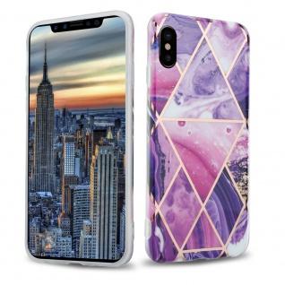 Cadorabo Hülle für Apple iPhone X / XS Hülle in Lila Welle Marmor No.14 Handyhülle aus TPU Silikon mit Muster Mosaik Silikonhülle Schutzhülle Ultra Slim Back Cover Case Bumper