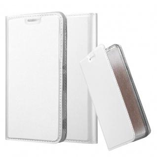 Cadorabo Hülle für Sony Xperia M4 Aqua in CLASSY SILBER - Handyhülle mit Magnetverschluss, Standfunktion und Kartenfach - Case Cover Schutzhülle Etui Tasche Book Klapp Style