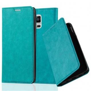 Cadorabo Hülle für Samsung Galaxy NOTE 4 in PETROL TÜRKIS - Handyhülle mit Magnetverschluss, Standfunktion und Kartenfach - Case Cover Schutzhülle Etui Tasche Book Klapp Style