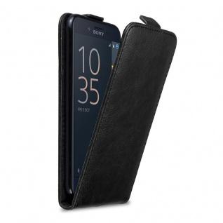 Cadorabo Hülle für Sony Xperia X COMPACT in NACHT SCHWARZ - Handyhülle im Flip Design mit Magnetverschluss - Case Cover Schutzhülle Etui Tasche Book Klapp Style
