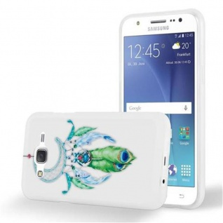Cadorabo Hülle für Samsung Galaxy J5 2015 (5) - Hülle im Design MOND TRAUMFÄNGER GRÜN - Handyhülle aus TPU Silikon mit Aufdruck - Silikonhülle Schutzhülle Ultra Slim Soft Back Cover Case Bumper